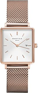 Rosefield Boxy Womens Analog Quartz Watch with Stainless Steel Gold Plated Bracelet QWSR-Q01