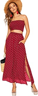 Women's 2 Piece Outfit Polka Dots Crop Top and Long Skirt...