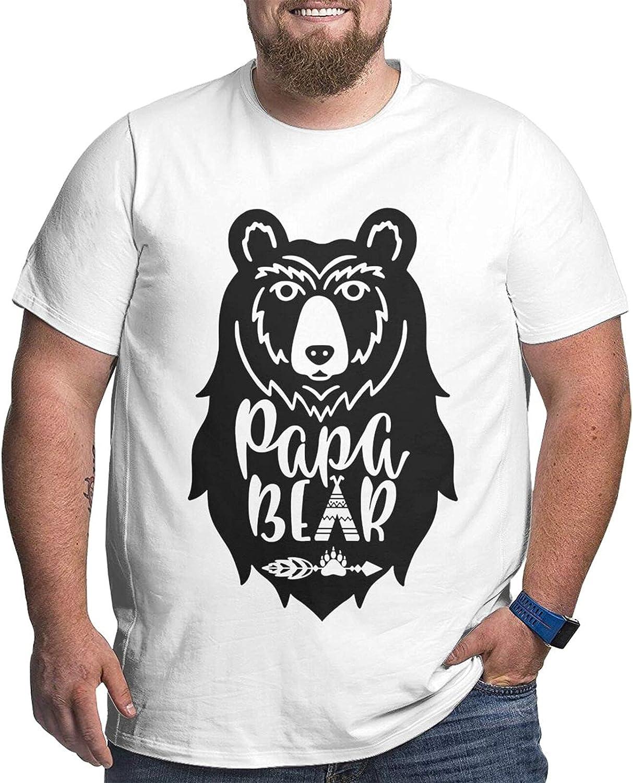 Papa Bear Mans Simple Big Size Summer Outdoor Short Sleeve Round Collar Tee