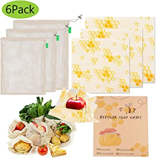 Reusable Beeswax Food Wraps Cover 6 Pack Cotton Produce Bags Large Small for Food Storage Eco-friendly (Honeycomb Print)