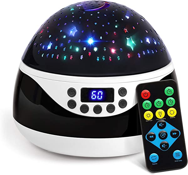 AnanBros Remote Baby Night Light With Timer Music Star Night Light Projector For Kids Rotating Kids Night Lights For Bedroom 9 Color Options Projection Lamp For Baby Christmas Gifts Black