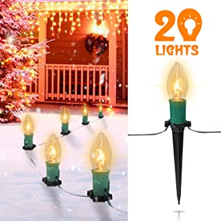 25FT C9 Christmas Pathway Lights with 20 Clear Bulbs and 20 Stakes- UL listed Walkway Christmas Stake Lights, for Outdoor Walkway Lights/Driveway Christmas Lights Use, Green Wire
