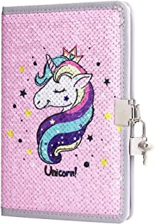 PojoTech Unicorn Notebook Sequin Secret Diary with Lock, Reversible Mermaid Sequin Notebook Private Journal Magic Travel J...