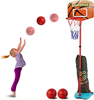 AOKESI Basketball Hoop for Toddler and Kids Set, Adjustable Height from 2.7 to 6.3 feet, Indoor Basketball Toys Products for Baby Boys Girls Outdoor Sports Play for Age 2 3 4 5 Years Old