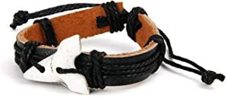 Black Leather Surfer Bracelet with White Shark Tooth Pendant for Men Women