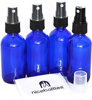 Glass Spray Bottles, 2 Oz Cobalt Blue Boston Round with Fine Mist Sprayer - Pack of 4