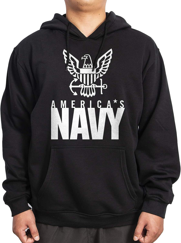 WINTERSUNNY US Navy Big and Tall Heavyweight Black Sweatshirt Pullover Hoodies for Men