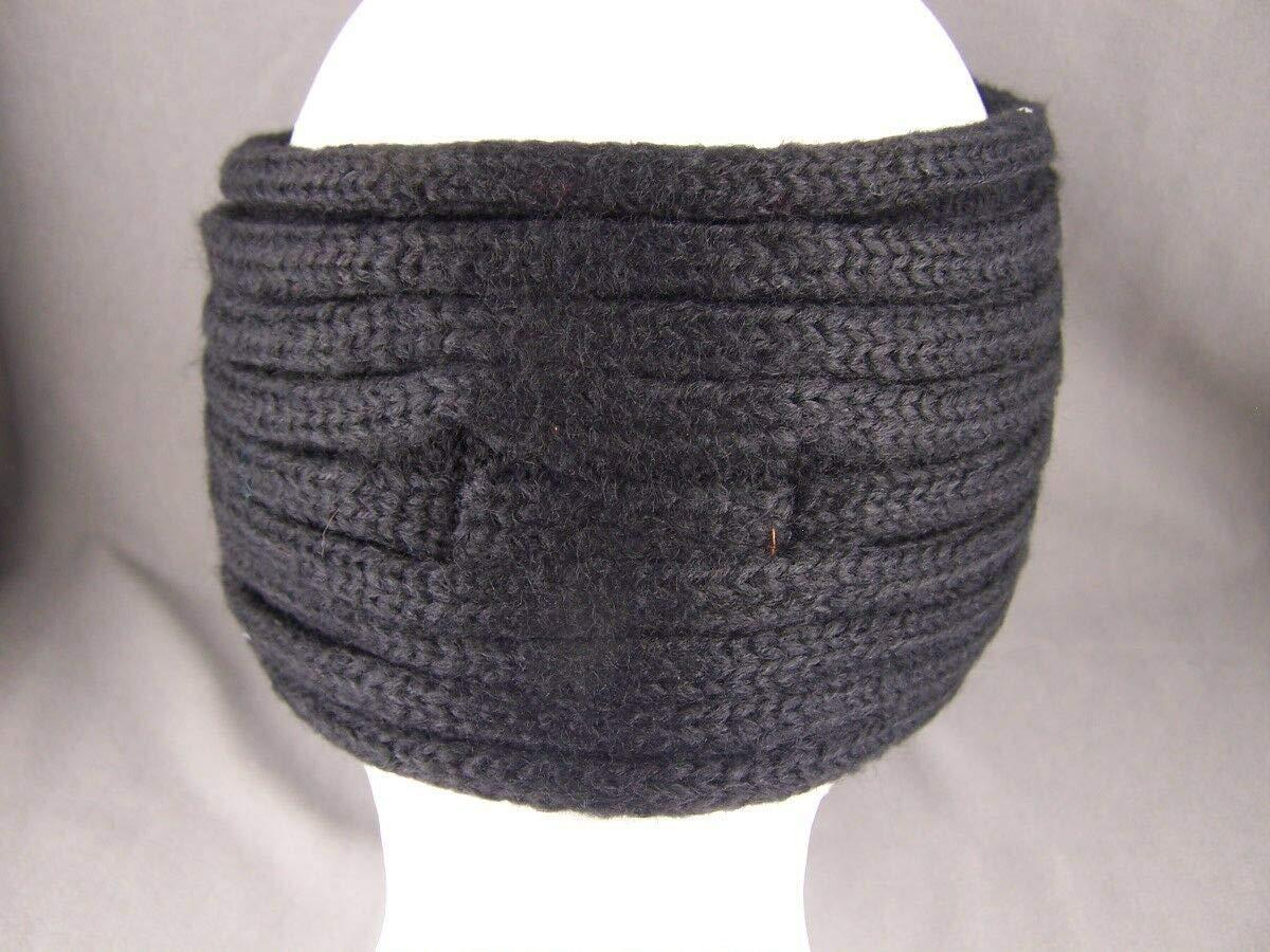 Black sparkly beaded turban style crochet ear warmer muff head band wrap knit