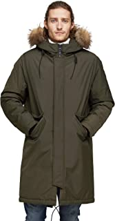 Winter Parka City Jackets for Men Business Coat Hooded with Real Fur Trim Insulated Waterproof Snow Jacket Green