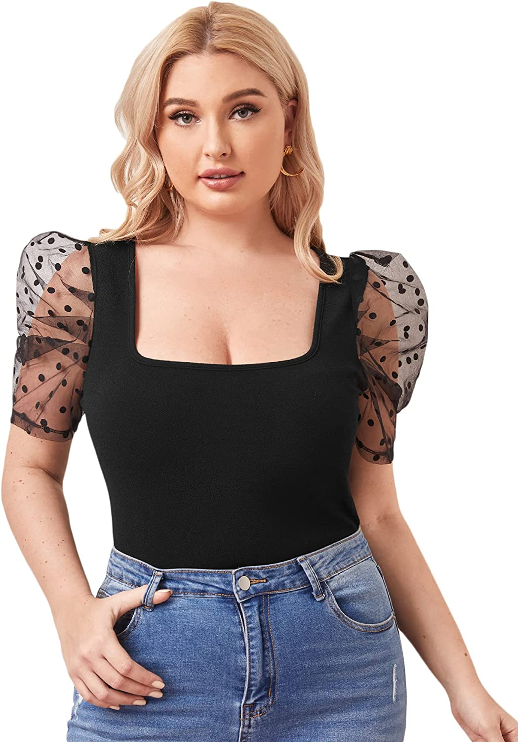 SOLY HUX Women's Plus Size Contrast Mesh Puff Short Sleeve Square Neck Tee Top