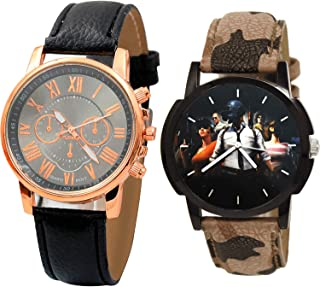NIKOLA PUBG Military Army Analogue Black Color Dial Boys Watch - B192-B173 (Pack of 2)