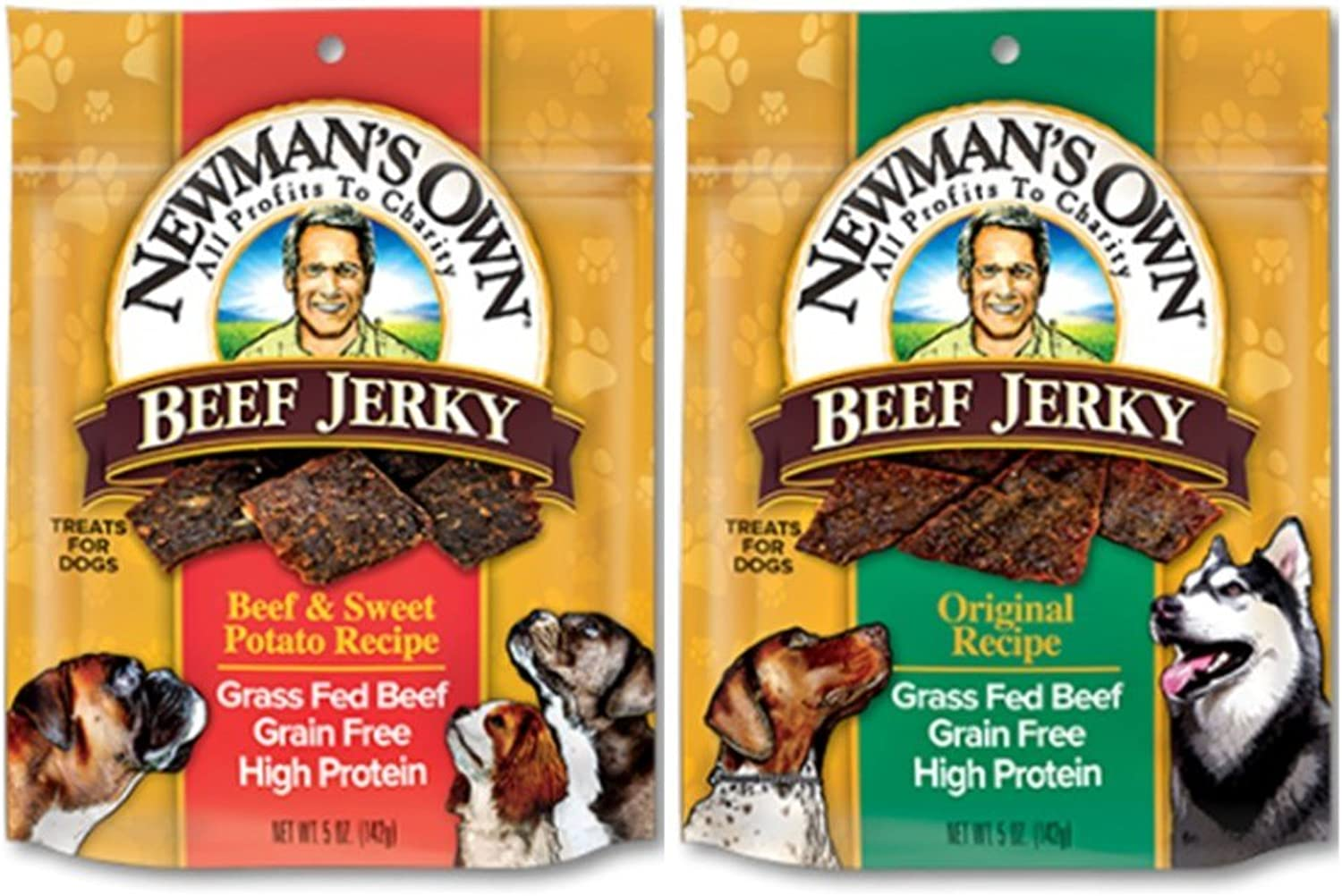 Newman's Own Grain Free Grass Fed Beef Jerky Dog Treats 2 Flavor Variety Bundle  (1) Original Recipe, and (1) Beef & Sweet Potato Recipe, 5 Oz. Ea. (2 Bags Total)