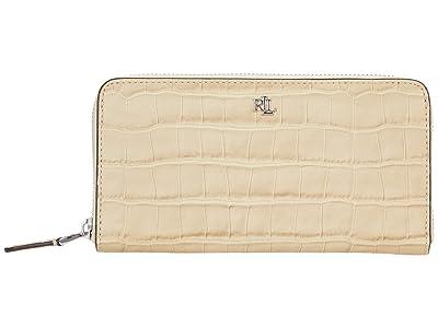 LAUREN Ralph Lauren Matte Crocodile Embossed Zip Continental Wallet Large