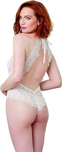 Dreamgirl Damen White Eyelash Lace Bridal Teddy with High Neck Dessous
