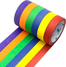 Colored Masking Tape Decorative Writable Colorful Painters Tape for Arts & Crafts, 6 Rolls Pack, 24mm x 20m Per Roll, BOME...