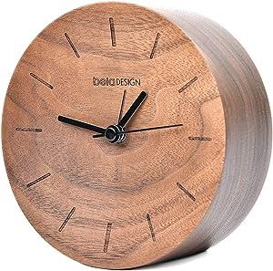 Glitz Star - Reloj Despertador de Mesa (Madera de Nogal, Redondo, Hecho a Mano), Color Negro