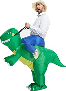 TOLOCO Inflatable Dinosaur T-REX Costume | Inflatable Costumes for Adults| Halloween Costume | Blow Up Costume (Green Dino...