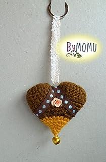 Llavero CORAZÓN Crochet- Marrón con Rosa