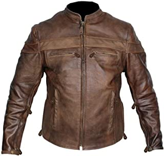 KAAZEE Men's Cow Hide Cafe Racer Unique Retro Vintage Brown Motorcycle Jacket