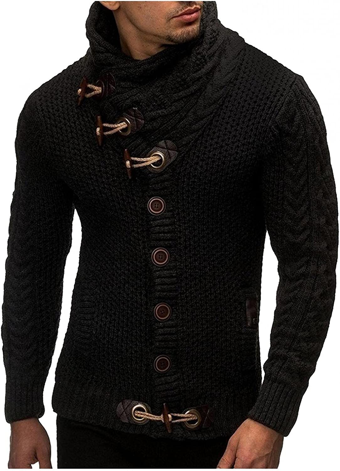 LEIYAN Mens Casual Knitted Sweaters Turtleneck Thermal Button Down Coats Hipster Loose Fit Cable Knit Jackets