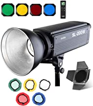 Godox SL-200W Bowens Mount Led Video Light, 5500K Day Light, CRI 95+, with Remote Control, Barndoor, Honeycomb Grid, Color Filters, for Video Recording,Wedding,Outdoor Shooting