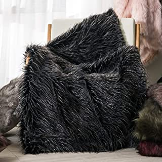 Luxury Faux Fur Throw Blanket, Black Peacock Feather Pattern Faux Fur Throw Blanket, Super Warm, Fuzzy, Elegant, Fluffy Decoration Blanket Scarf for Sofa, Armchair, Couch and Bed, 50''x60''