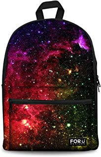 Galaxy School Backpack for Women Girls Canvas Book Bag Premium Daypack Teens
