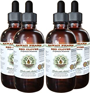 Red Clover Alcohol-Free Liquid Extract, Red Clover (Trifolium Pratense) Seed Glycerite Natural Herbal Supplement, Hawaii Pharm, USA 4x4 fl.oz