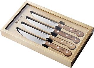 WÜSTHOF Steak Set 1069560402, 4-teilig, Steakmesser-Satz, Griffe aus Pflaumenholz, rostfreier Edelstahl, sehr scharfe Messer