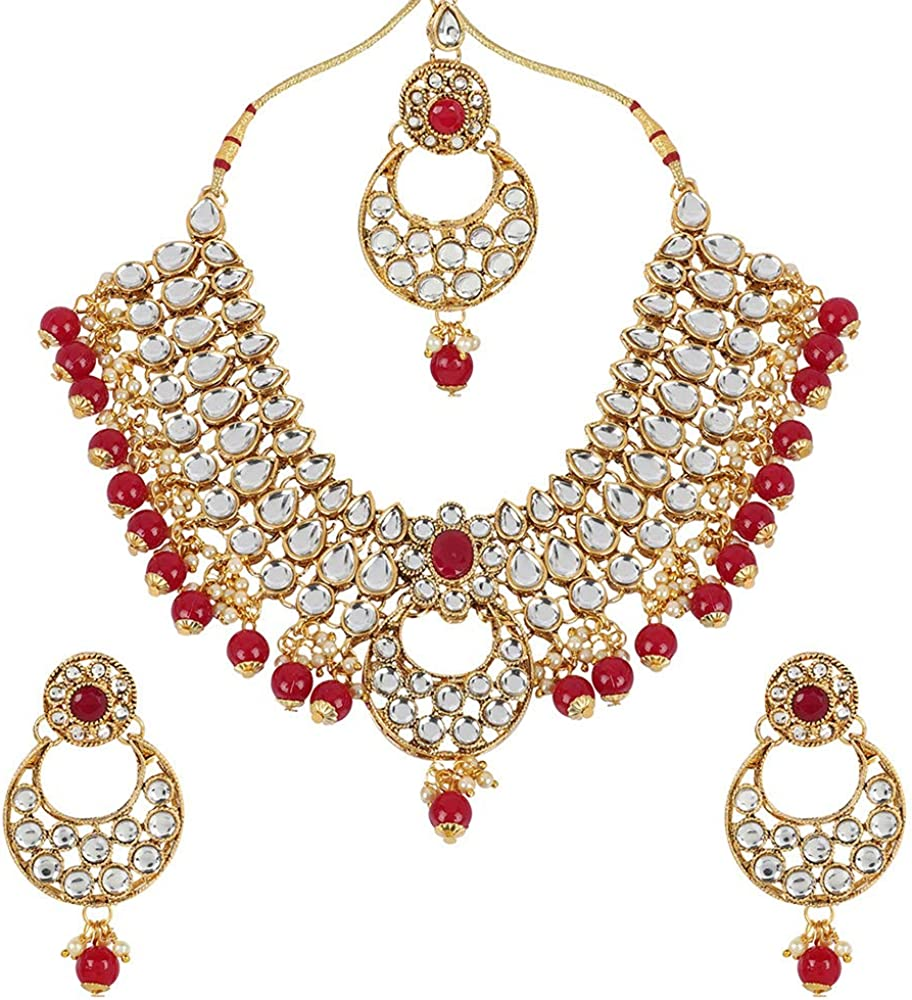MUCH-MORE Indian Traditional Kundan Bridal Necklace Pearl & Colored Beads Bollywood Style Set