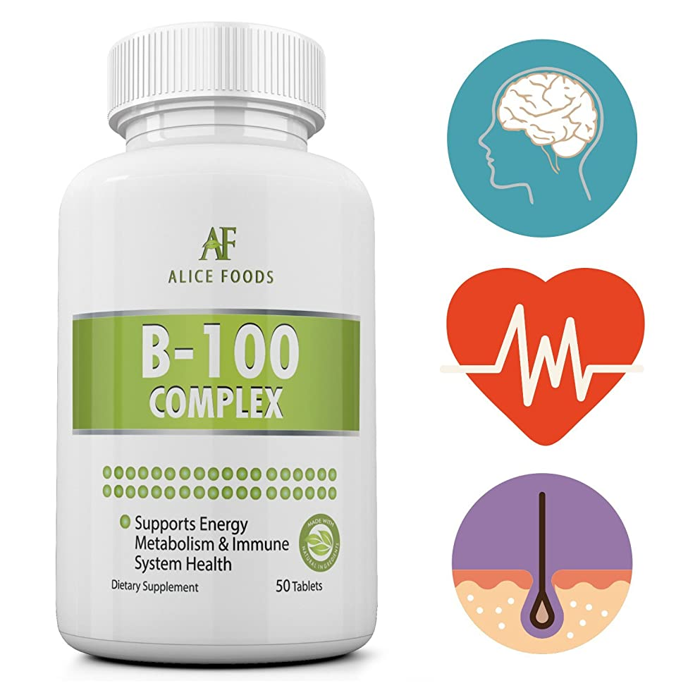 Time Released Vitamin B-100 Complex - 50 Coated Tablets Slow Release
