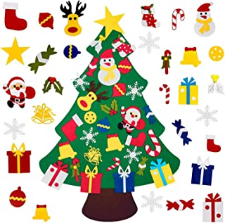 limik DIY Felt Christmas Tree with 30pcs Detachable Ornaments, Xmas Gifts for Kids New Year Handmade Christmas Door Wall Hanging Decorations
