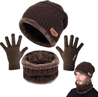CheChury Cappello Uomo Invernali Beanie in Maglia con Sciarpa Beanie Sciarpa Foderata 3 Pezzo per Uomini Donne Guanti Inve...