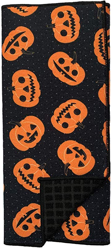 Happy Halloween Smiling Pumpkin Jack O Lanterns Festive Holiday Dish Drying Mat 15 X 20