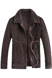 WSPLYSPJY Mens Long Sleeve Fuzzy Sherpa Fleece Hooded Jackets Coats Jacket Overcoat