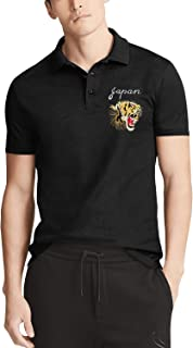 Men's Black Short Sleeve Collared Polo T-Shirt Japan Beautiful Tiger Roar Custom Tee Tops
