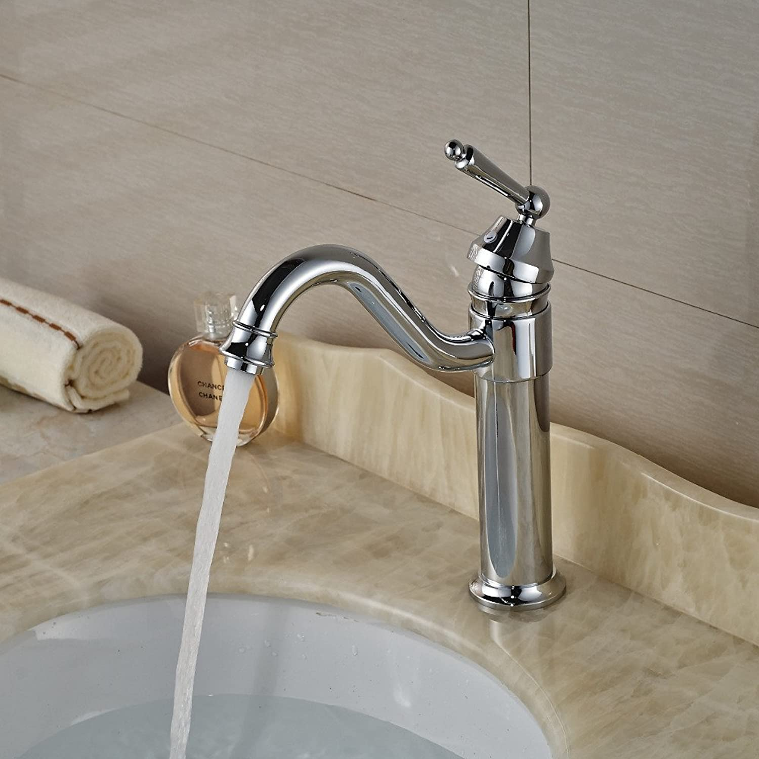 Tourmeler Chrome Finished Single Handle Bathroom Sink Faucet Deck Mount With Hot Cold Water Mixer Taps