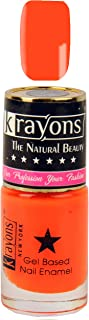 KRAYONS GEL BASE GLOSSY EFFECT NAIL POLISH ENAMEL COLOR, 6ML SAFE DRY FAST COLLECTION FOR WOMEN, TEENS, KIDS (NEON ORANGE)