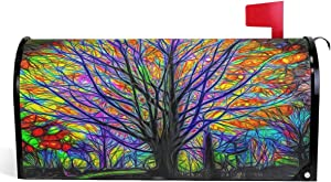 Granbey Colorful Rainbow Tree Mailbox Cover Magnetic Custom Decor Forest Tree Painting Wraps Post Letter Box Decorative for Outside Garden Yard Home Standard Mailbox 18x21 in