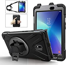 Samsung Galaxy Tab Active 2 Case(SM-T390/SM-T395/SM-T397),Three Layer Heavy Duty Rugged Dropproof Shockproof Full-Body Hard Protective Case with Pencil Holder/Hand Strap/Stand/Shoulder Strap-Black