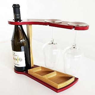 Porta calici e bottiglia in legno - porta bicchieri