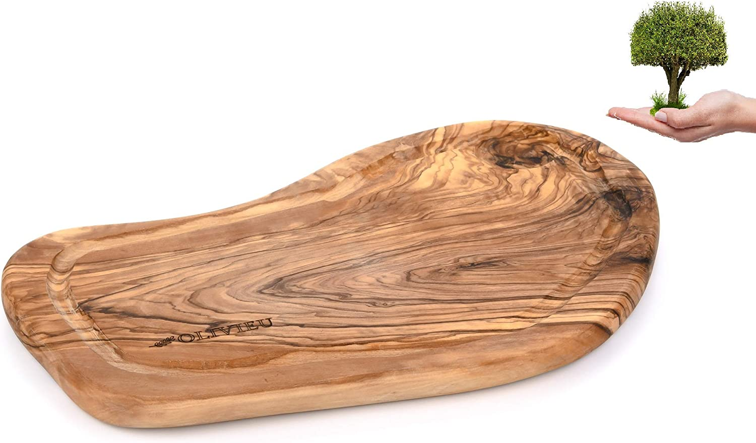 Mail order cheap OLIVIEU ~ Great interest Olive Wood Cutting Board Juice 12.2 inch Rim with