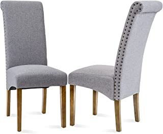 Merax Dining Chairs Set of 2 Fabric Padded Side Chair with Solid Wood Legs, Nailed Trim(Grey)