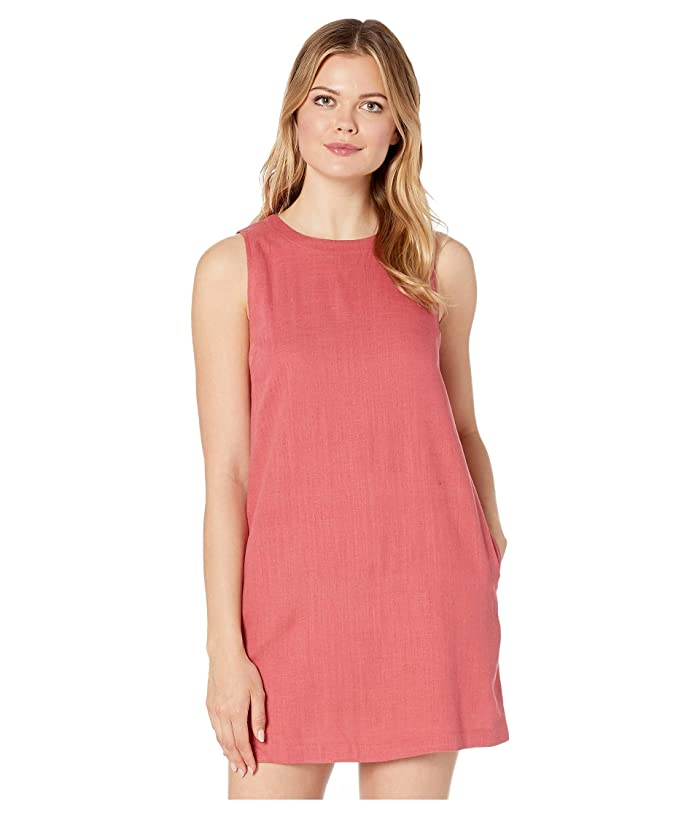 American Rose Allison Sleeveless Dress with Back Button Detail (Red Bean) Women
