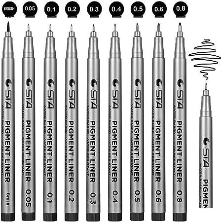 stylos noir a pointe fine, Beupro Lot de 9 Stylos Feutre Noir à Pointes Fine pour croquis bureau de dessin documents manga scrapbooking BD et utilisation scolaire