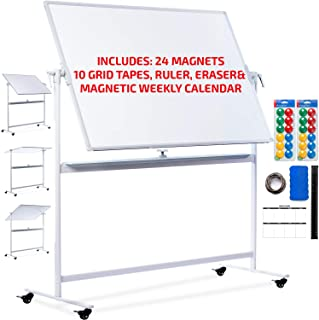 Mobile Whiteboard 48x36 - Large Rolling Whiteboard Planner with Stand on Wheels - Dry Erase Mobile Magnetic Classroom White Board Double Sided + 24 Dots, 10 Gridding Tapes, Ruler, Eraser