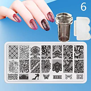 Zmond - New 12X6cm 44 Style Nail Stamping Plates Set Made Stencils Lace Flower DIY Nail Art Templates+Transparent Stamper Stamp Scraper [ 6 ]