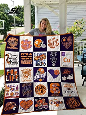 DOAN Clemson Tigers Quilt & Blanket - Suitable for All Seasons with Mellow Material Comfortable and Luxurious.