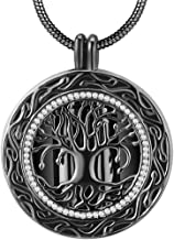 Ado Glo Memorial Gift, Always in My Heart with 1 or 2 Vials Urn Locket Pendant Necklace, Tree of Life Cremation Jewelry for Ashes, Keepsake for Dad Sister Grandma Aunt Wife Daughter Mom