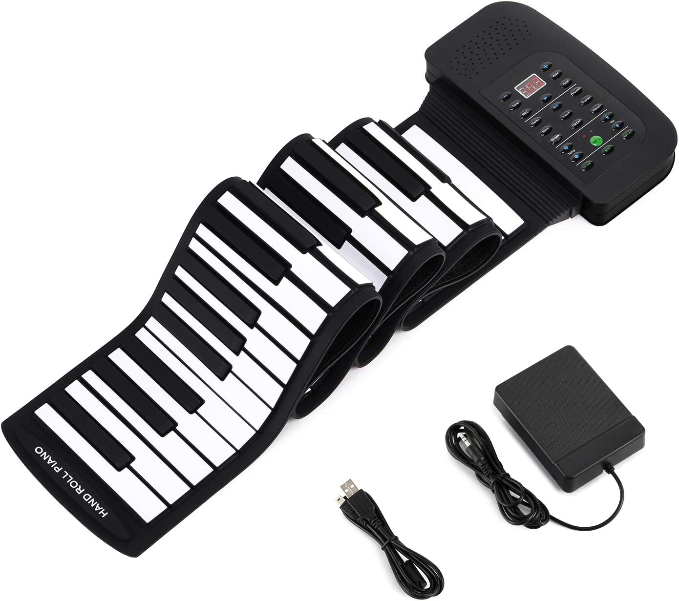 Donner 88 Keys Roll Up Digital Piano Black Portable Keyboard with Pedal for Beginners or Finger Power Practice